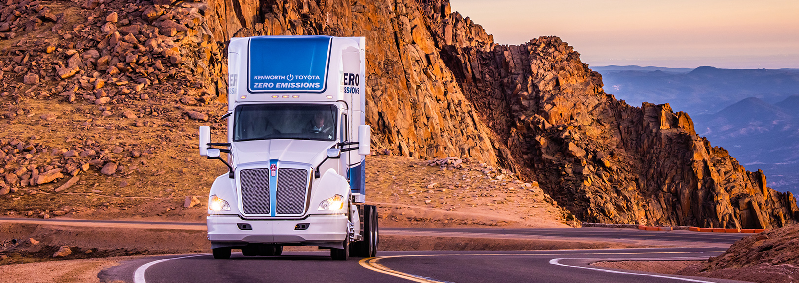 Kenworth zero emission truck driving on the highway